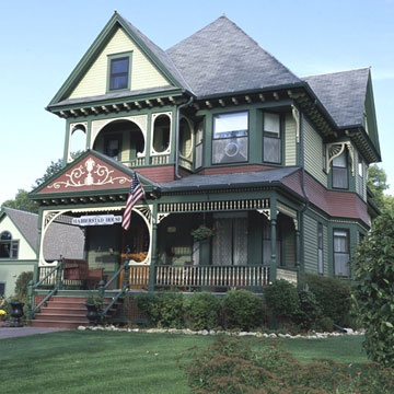 Victorian Houses  Want to do this gingerbread work on my renovation! Love the Burgundy steps leading into the dark green.  Just beautiful!