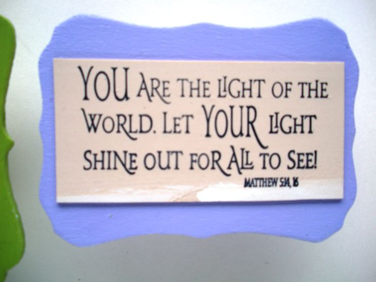 Verse Magnet.  You are the Light of the World.  Let YOUR Light Shine out for all to see!  Matthew 5:14, 16. Christian Scripture Verse Magnet by WordofGod on Etsy