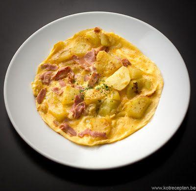 Omelet met hesp en aardappel