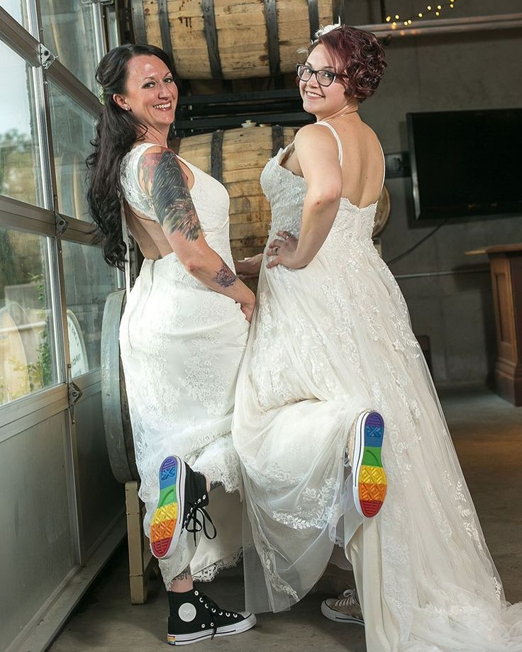 Lgbtq wedding - A whimsical polyamorous wedding joining two families in awesomeness – Lgbtq wedding Luxury Wedding Dress, Dream Wedding, Wedding Dresses, Brides With Tattoos, Tattooed Brides, Rainbow Wedding Dress, Lgbt Wedding, Lesbian Wedding Photos, Lesbian Wedding Photography