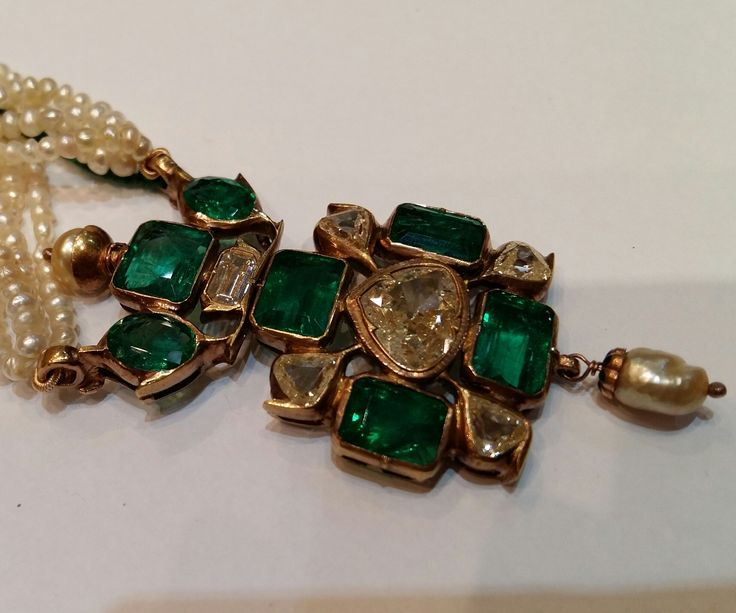 Colombian Emerald, Diamonds and Pearl Antique Indian Pendant. www.gutgalgems.com