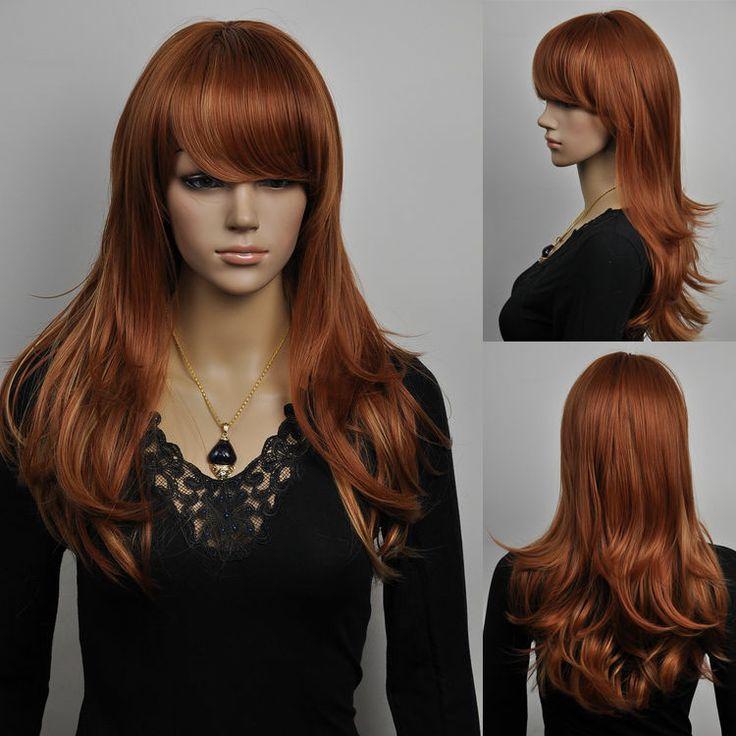 wavy ramp bangs brown medium straight cosplay women female new wigs cap wig  y2 !5.92 + free