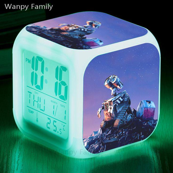 Solar robot Wall-E Alarm Clocks,Glowing LED Color changing digital Alarm Clocks For kids Birthday Gift alarm clock