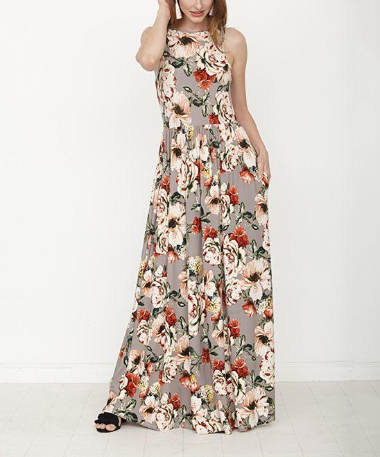 ece4019a11a egs by éloges Mocha   Coral Floral Side-Pocket Maxi Dress - Women ...