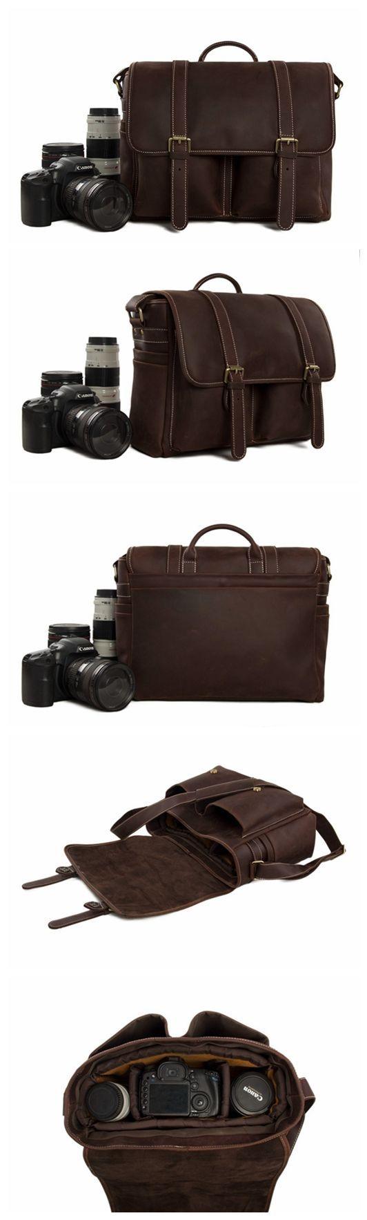 ROCKCOW Vintage Genuine Leather DSLR Camera Bag SLR Camera Bag Leather Camera Bag