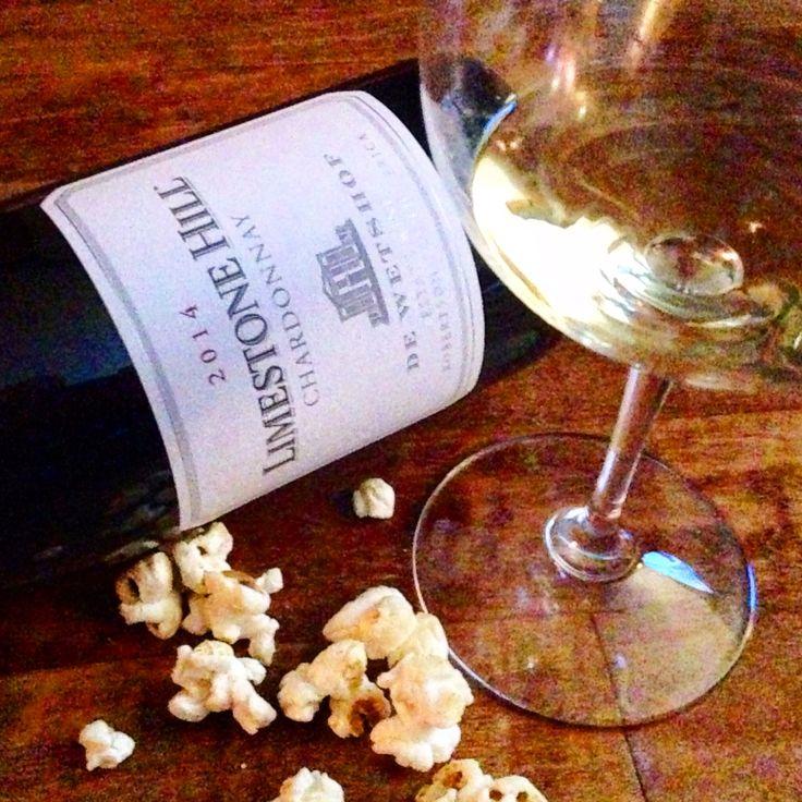 Unoaked South African (De Wetshof, Limestone Hill) Chardonnay paired to Angie's @angiesboomchickapop Sweet & Salty Kettlecorn. #howisunday What's ur favorite #footballandwinepairing?