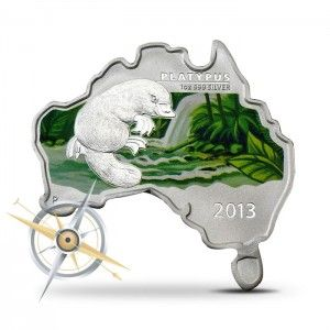 2013 Australian Map-shaped Platypus 1 oz Silver Coin Obverse
