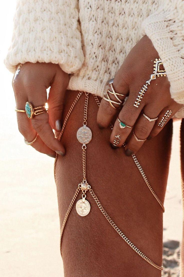Nishka boho chic gypsy coin leg chain and ShimmerTatts metallic tattoos. For the BEST Bohemian fashion trend ideas FOLLOW https://www.pinterest.com/happygolicky/the-best-boho-chic-fashion-bohemian-jewelry-gypsy-/ now!