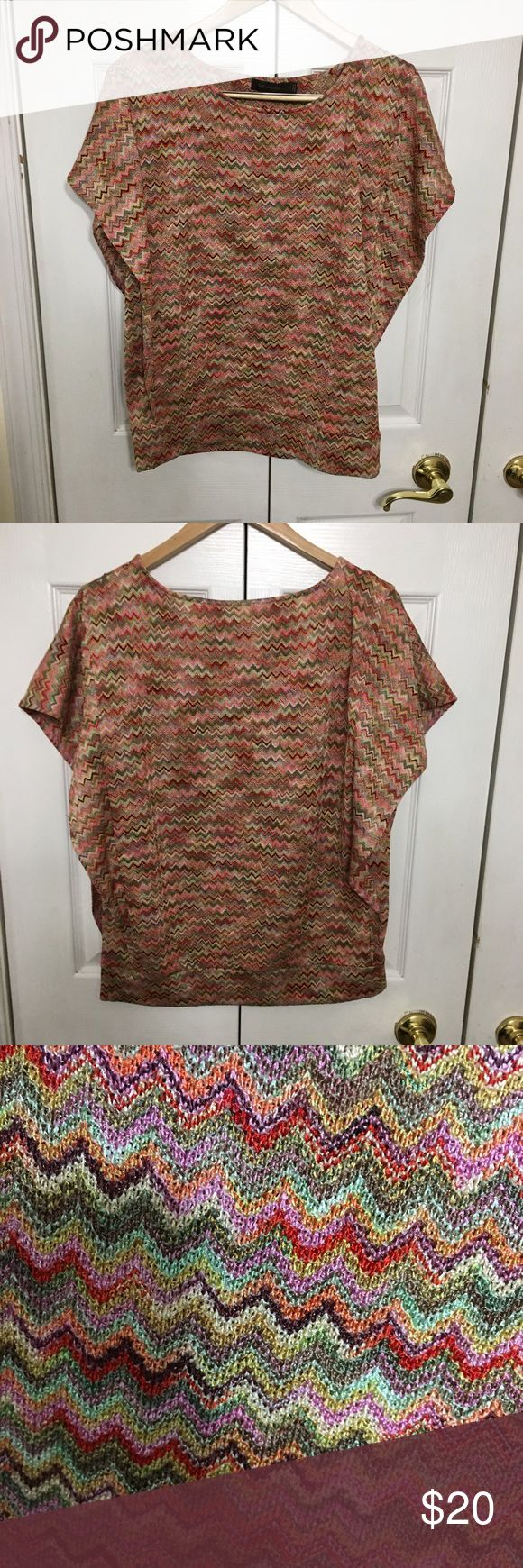 The Limited Multicolored chevron top So colorful! This multicolored chevron top has a banded waist and flutter sleeves. Excellent preowned condition. No stains, rips, holes. The Limited Tops Blouses