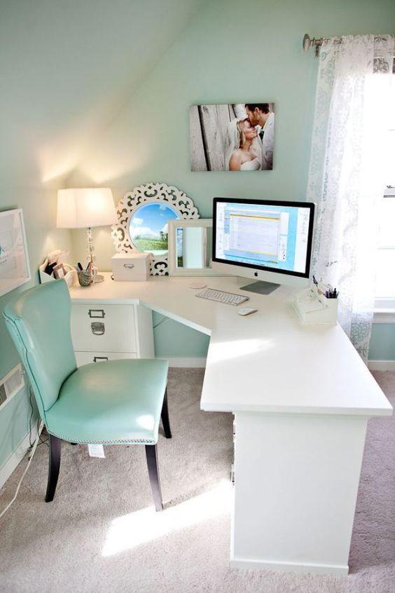 Office, chic, modern, white desk filing cabinet, diy desk, corner