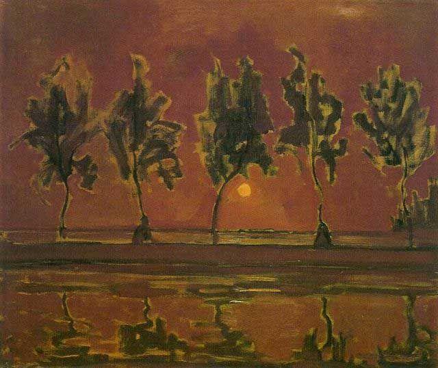 dit schilderij van Piet Mondriaan vind ik erg mooi door de weerspiegeling van de bomen in het water. Het kleurgebruik bij dit schilderij vind ik best mooi, vooral de paars-rode kleur in de lucht. ook vind ik dat de zon er mooi opstaat en dat je goed kan zien dat die ook echt licht uitstraalt