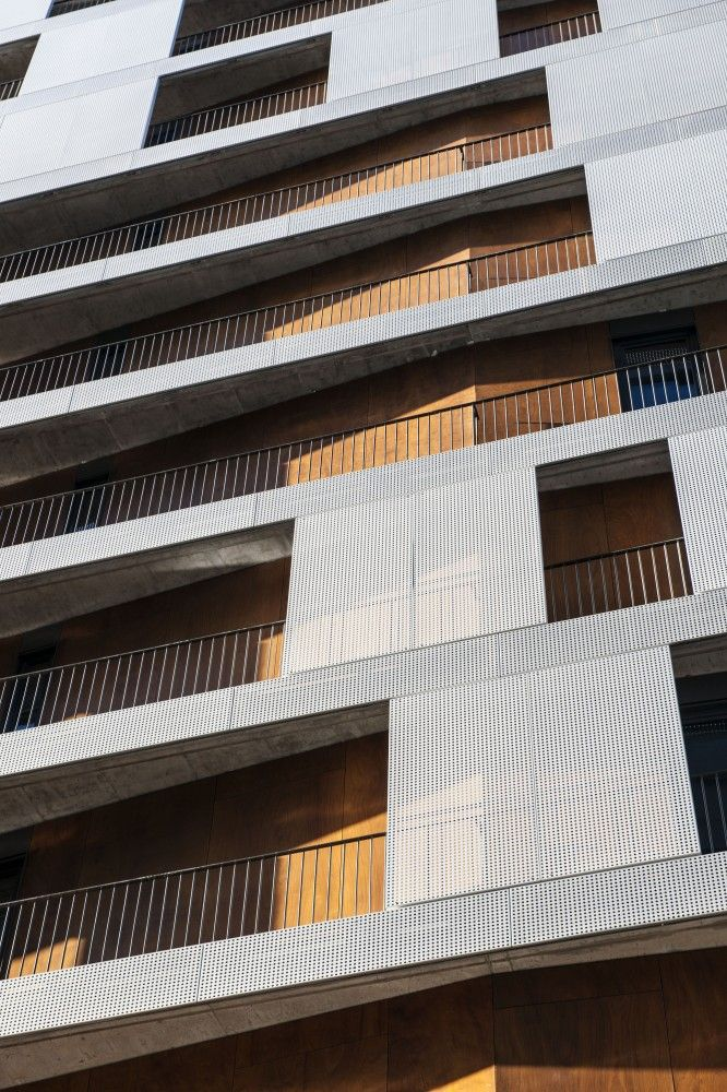 Mad Facade by MAD Architects, tight balconies, simple railings, screens for layering.