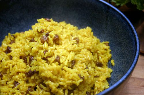 South African Geel Rys (Yellow/tumeric Rice) with Tomato Salad
