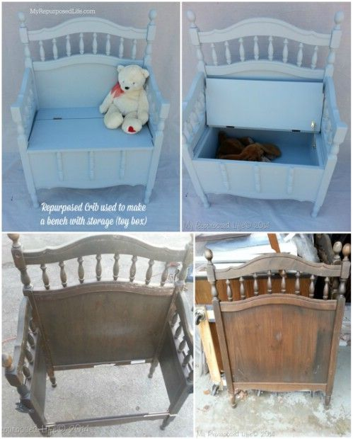 Storage Bench - 20 Delightfully Creative and Functional Ways to Repurpose Old Cribs