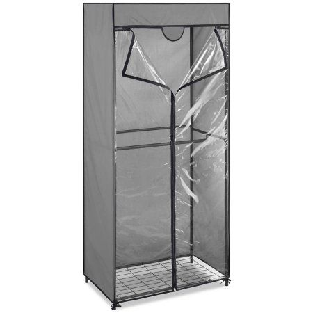 Double Rod Portable Closet with Cover, Gray