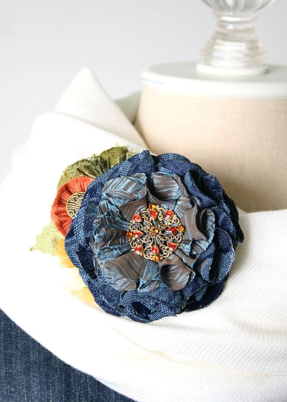 Navy Blue Flower Brooch, Easter Corsage, Fabric Flower Pin, Blue Flower Hat Pin, Dress Pin