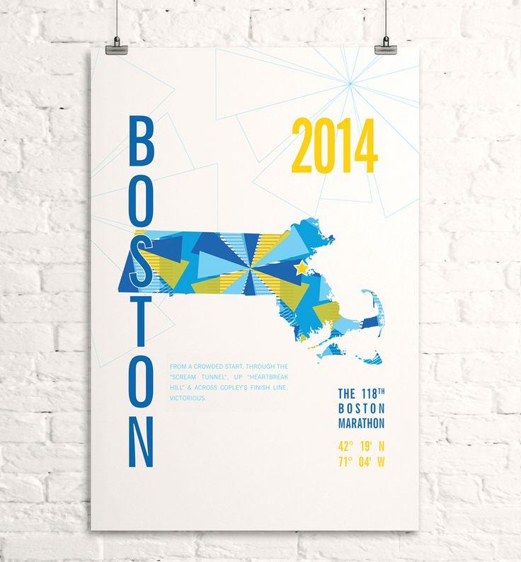 boston marathon art poster #map #design
