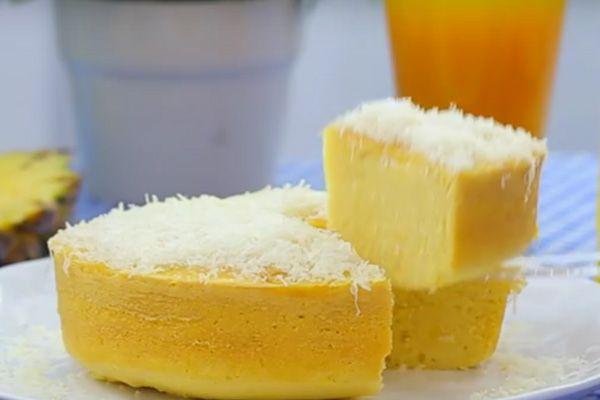 Resep cara membuat kue bolu nanas kukus taburan keju spesial lembut