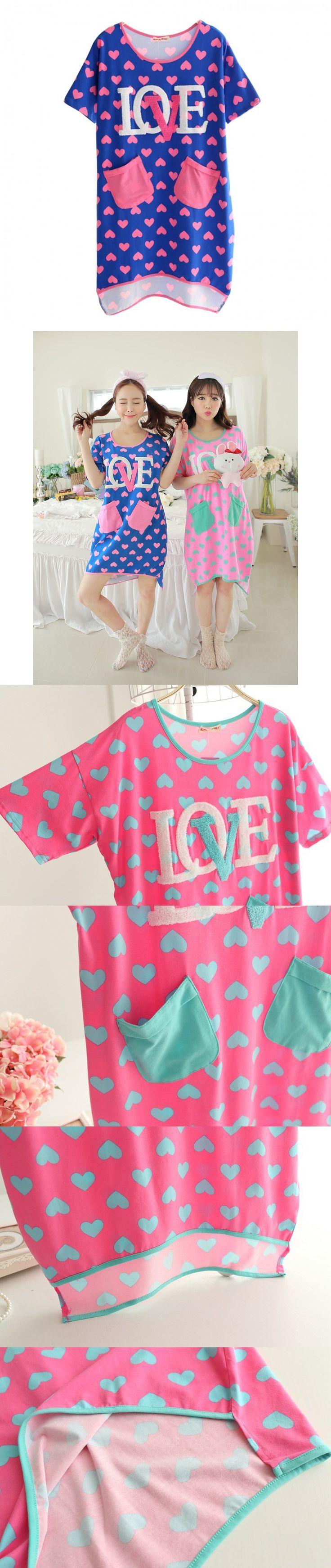 Hot Cute Cartoon Love Lingerie Nightdress Lady's Short Sleeve Cotton Robe Sleepwear Women Sleep Dress Girls Nightgown Sleepshirt