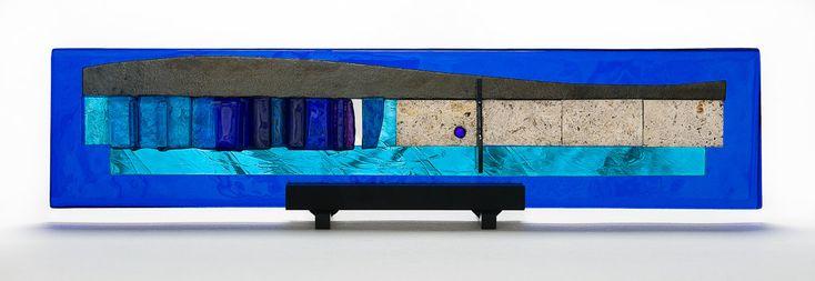 Western Wall Blue Skyline Sculpture - Gala I by Alicia Kelemen (Art Glass Sculpture) | Artful Home