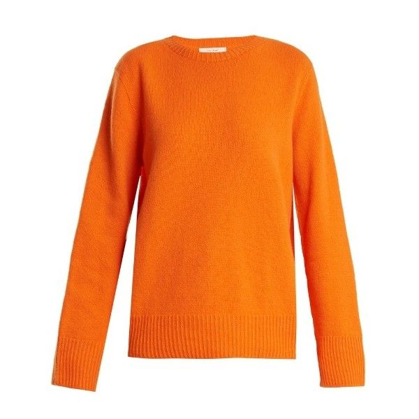 The Row Sibel wool and cashmere-blend sweater (€755) ❤ liked on Polyvore featuring tops, sweaters, wool top, orange top, woolen tops, orange sweater and relaxed fit tops