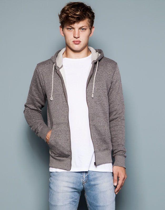 Pull&Bear - dla niego - bluzy sportowe - kurtka z kapturem - pop średni - 09594520-V2015
