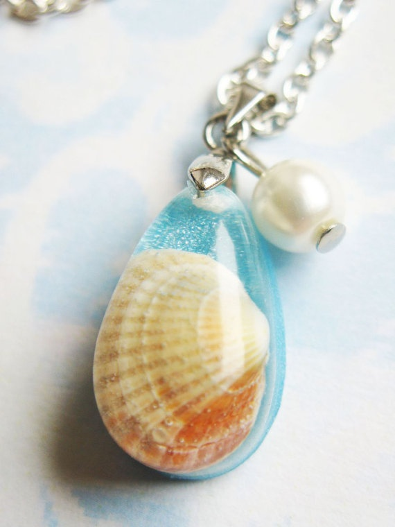 Real Shell Resin Pendant Resin Jewelry Resin by lowelowejewelry, $18.00
