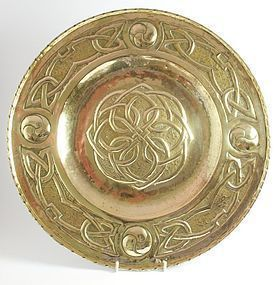 Arts & Crafts Scottish Celtic knot brass charger