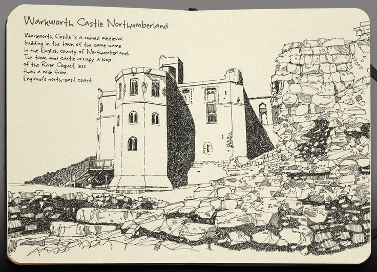 pen and ink illustration of warkworth castle northumberland