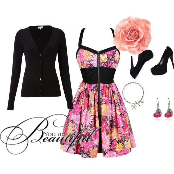 beautiful dress, cute shoes and accessories, tied together with a nice black cardigan