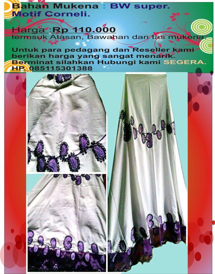 mukena motif korneli..tersedia warna ungu,hijau,pink,kuning,biru,merah,