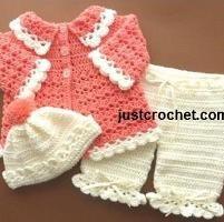 FJC04-Coat Set baby crochet pattern - via @Craftsy