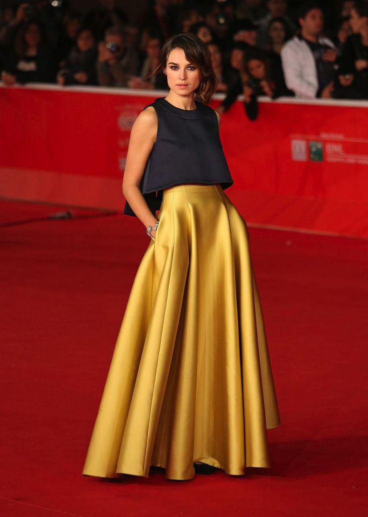 Kasia Smutniak Rome Film Festival 2013 with yellow metallic pleated modest skirt