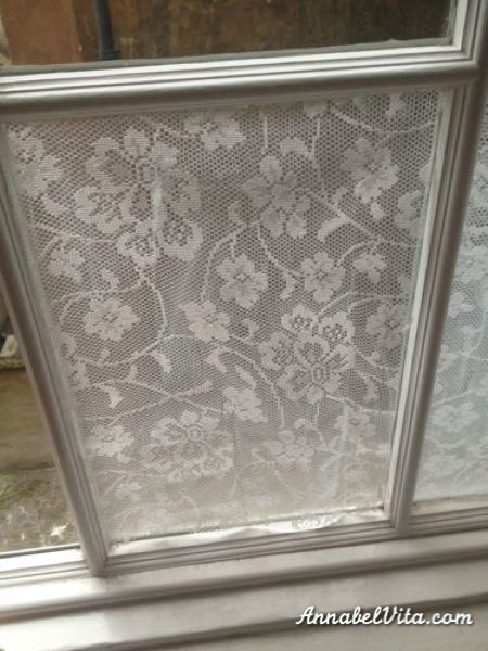 Lacy windows to create privacy - love it!! And it's only put together with cornstarch