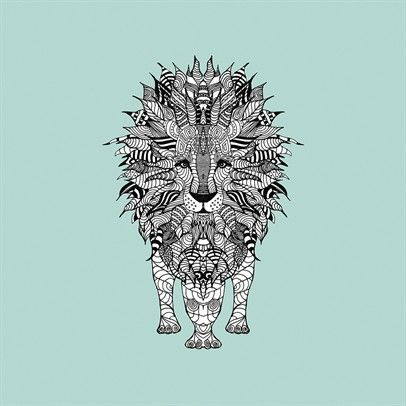 AZTEC LION ON PALE TURQUOISE BY MONIKA STRIGEL -STR202P-Multi $39.00 on Ozsale.com.au