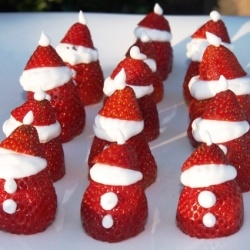 Strawberry Santa! Making these for Adrianna's class Xmas party!!!!!  Soooo cuteeee.... plan to put eyes tho :)