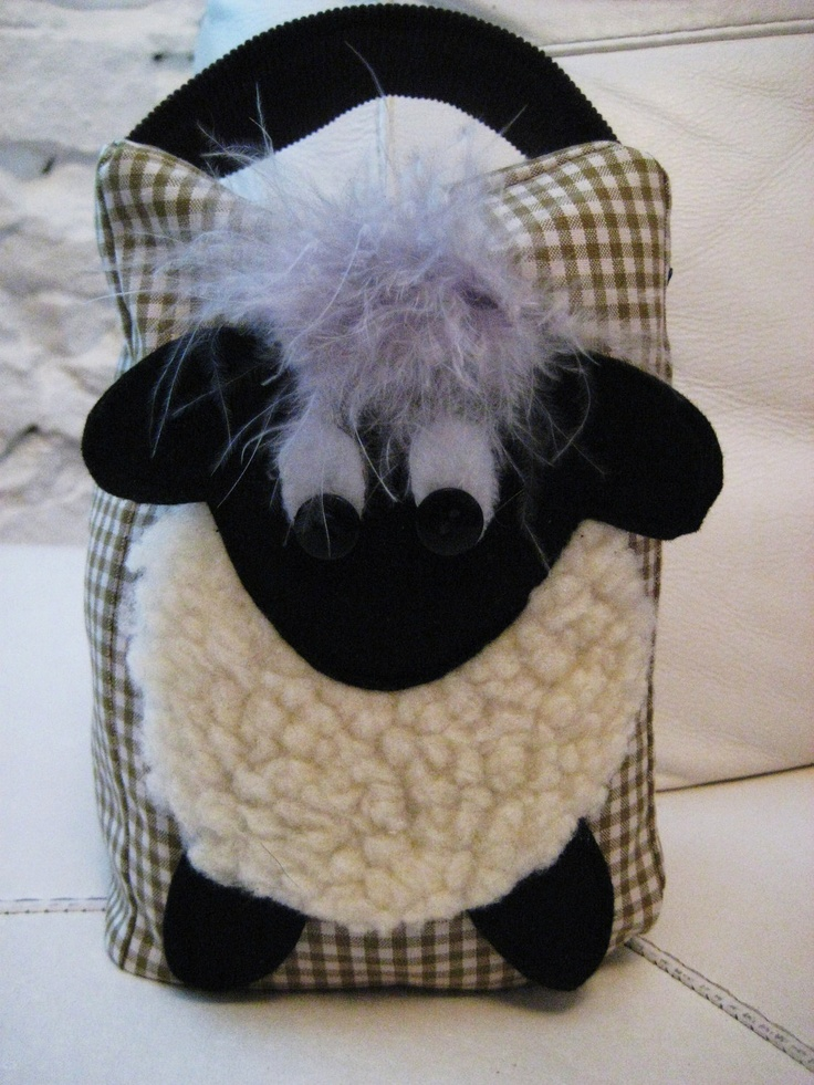 Handmade Cute Sheep Lamb Fabric Doorstop In Vintage Olive