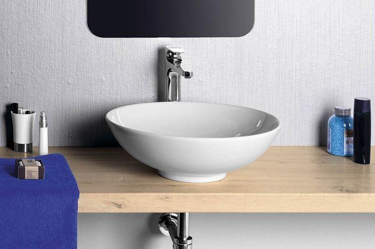 DIMP keramické umyvadlo, průměr 46 cm, na desku, bez přepadu, SAPHO E-shop