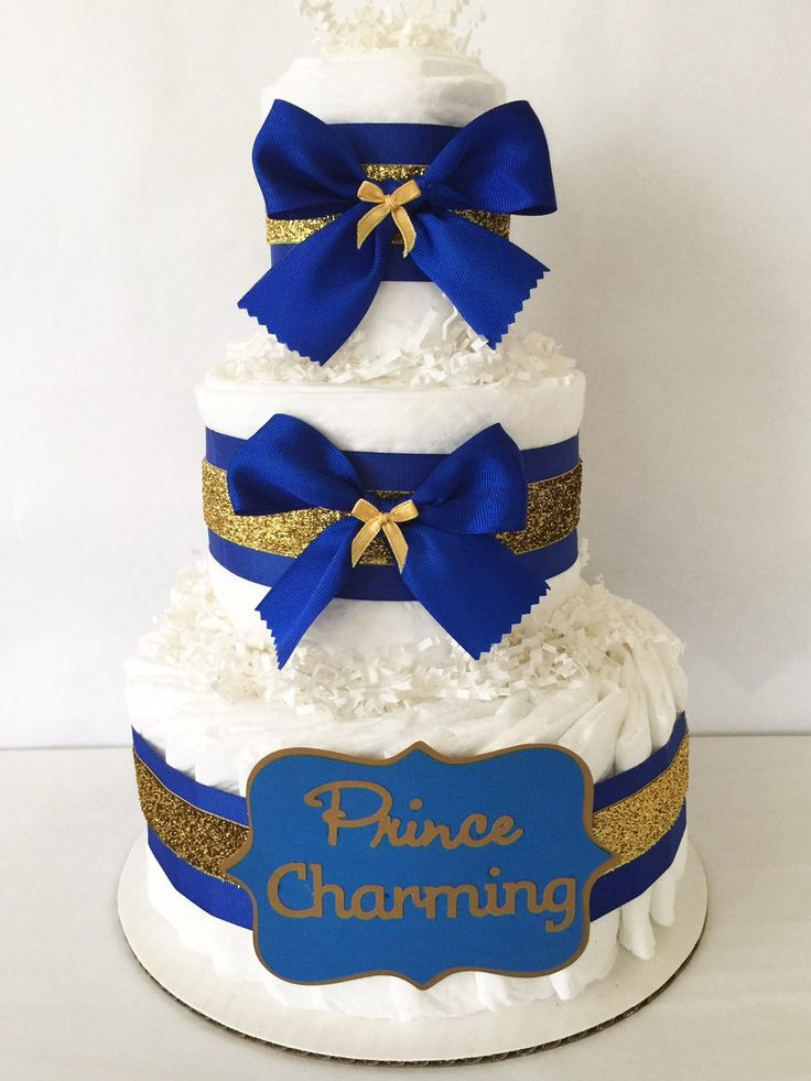 Prince charming diaper cake in royal blue and gold prince theme baby shower centerpiece ideas - Decoration gateau glacage royal ...