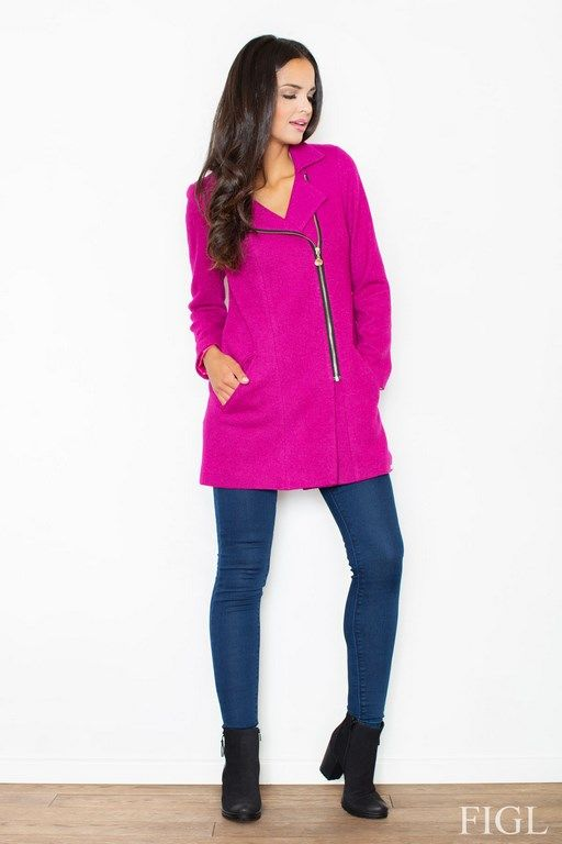 Women's coat in shades of fuchsia