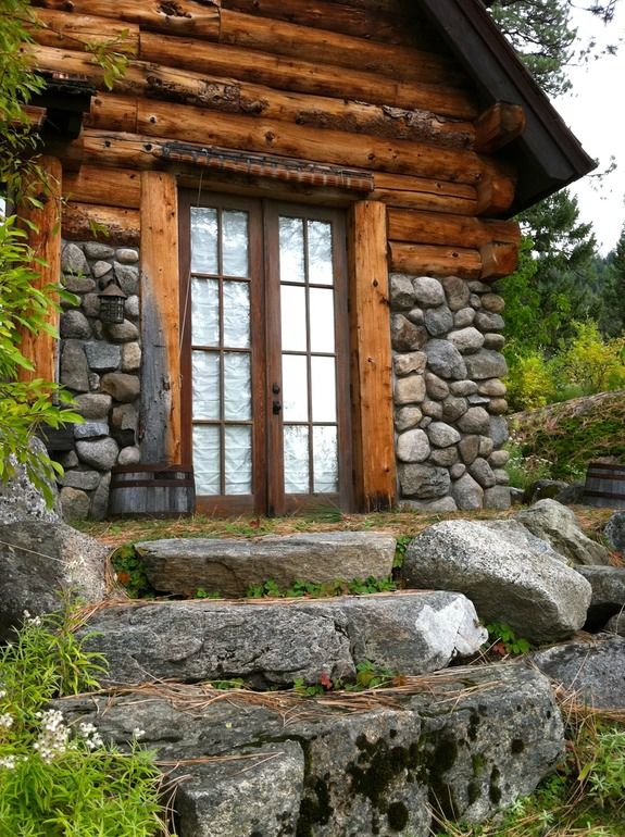 216 best natural rock building exterior images on for Wood cabin homes