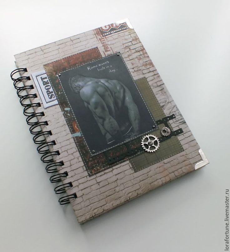 Купить Дневник Тренировок Мужской А5 ручной работы - дневник, фитнес, блокнот