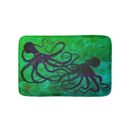 Octopi On Green - Small Bath Mat - bathroom idea ideas home & living diy cyo bath