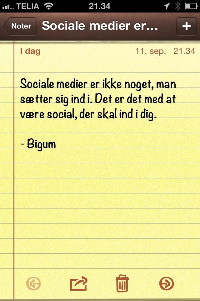 Sociale medier er ikke noget, man sætter... (dagens citat af @thomasbigum)