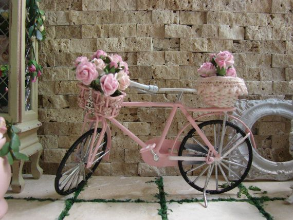 Miniature Shabby Chic Pink Bike #miniatures #dollhouse