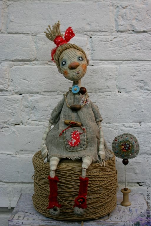 Купить Авторская кукла Пугалко - серый, красный, оберег, авторская кукла, пугало, Папье-маше