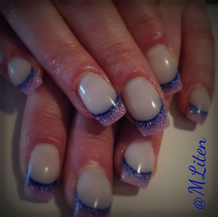 Blue, purple and pink gelnails Blå, lila och rosa gelnaglar