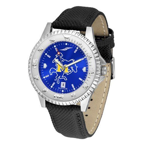 "McNeese State Cowboys NCAA Anochrome ""Competitor"" Mens Watch (Poly/Leather Band) by SunTime. $84.59. Calendar Date Function. Rotating Bezel. Color Coordinated. Showcase The Hottest Design In Watches Today! A Functional Rotating Bezel Is Color Coordinated To Highlight Your Favorite Team Logo. A Durable, Long Lasting Combination Nylon/Leather Strap, Together With A Calendar Date, Round Out This Best Selling Timepiece. The Anochrome dial option increases the visua..."