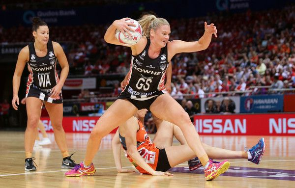 Caitlin Thwaites of the Magpies controls the ball during the round nine Super Netball match between the Giants and the Magpies at Qudos Bank Arena on April 23, 2017 in Sydney, Australia.