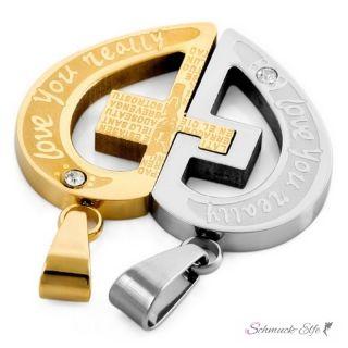 Partnerketten Herz LOVE YOU REALLY mit Kreuz  Gold Silber...